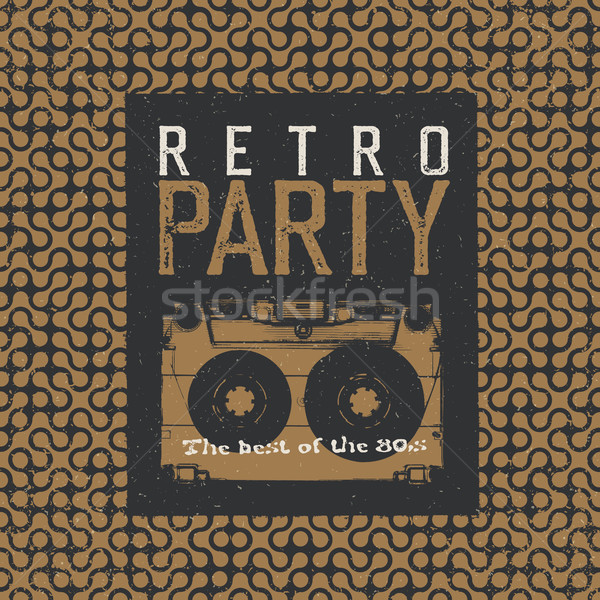 Retro Party. The best of 80's. Vintage Music Party Leaflet Templ Stock photo © pashabo
