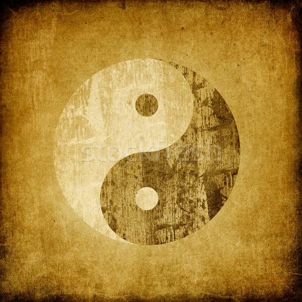 Grunge yin yang symbol background. Stock photo © pashabo