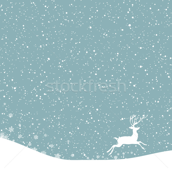 Christmas postcard. Vector background with white deer under snow Stock photo © pashabo