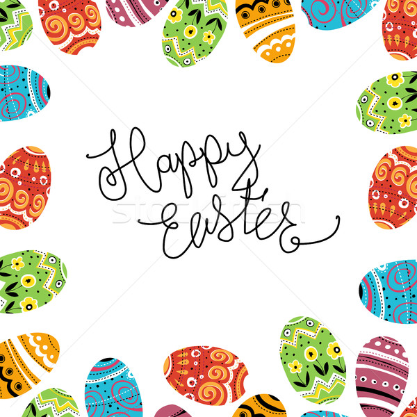 Happy Easter. Eggs colorful frame abstract background. Calligrap Stock photo © pashabo