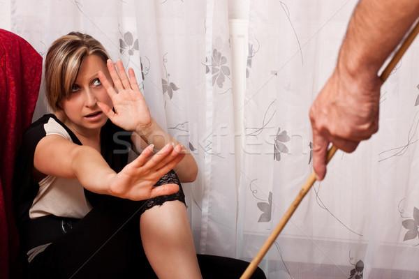 Víctima mujer rubia sesión esquina Foto stock © Pasiphae
