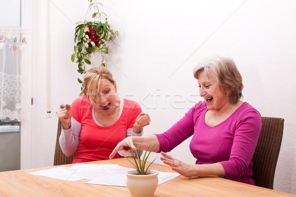 Due donne felice messaggio positivo business famiglia Foto d'archivio © Pasiphae