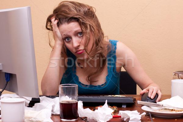Jovem mulher bonita sessão esgotado trabalhar negócio Foto stock © Pasiphae