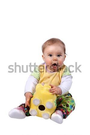 Bebek şaşırmış kumbara boş oturma Stok fotoğraf © Pasiphae