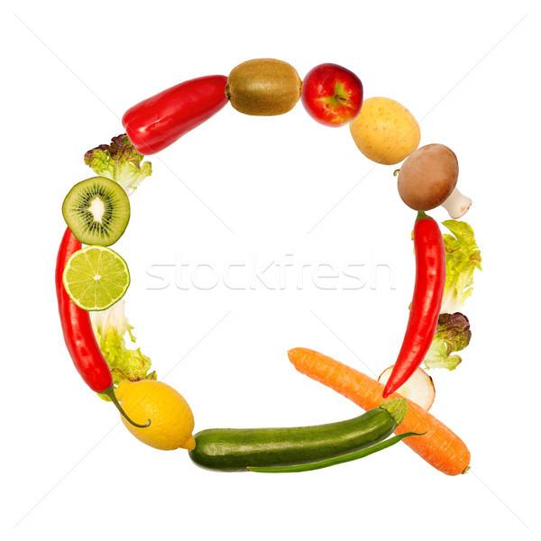 буква q различный плодов овощей полный шрифт Сток-фото © Pasiphae
