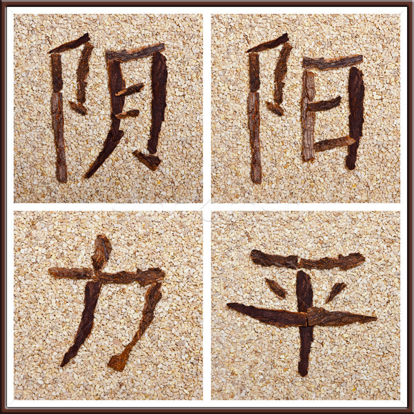 Chinese characters for yin, yang, strength, peace Stock photo © Pasiphae