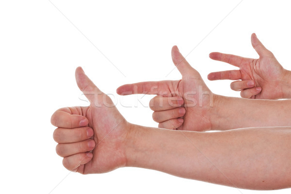 Caucasian hands counting from one to three Stock photo © Pasiphae