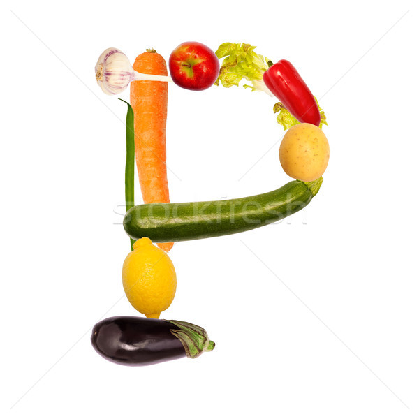 The letter p in various fruits and vegetables Stock photo © Pasiphae