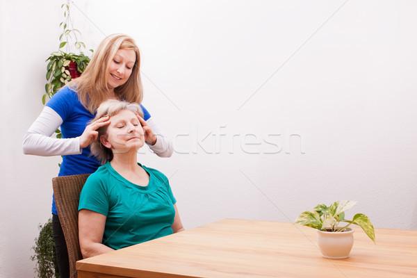 Rubio femenino cuero cabelludo Foto stock © Pasiphae