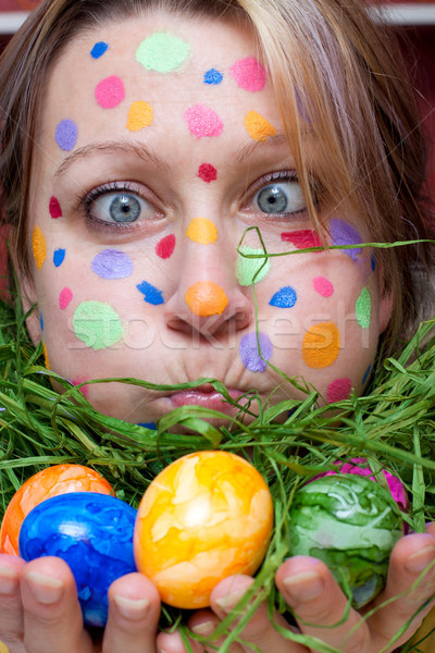 woman with colorful points in the face Stock photo © Pasiphae