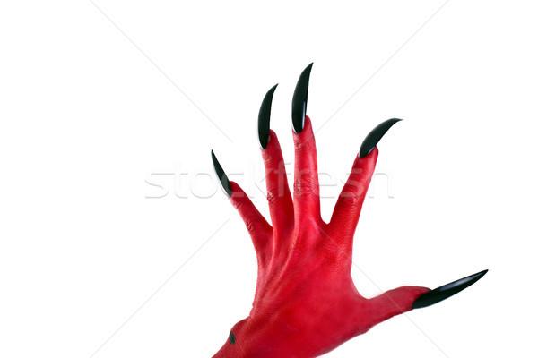 Vermelho mão diabo preto unhas medo Foto stock © Pasiphae