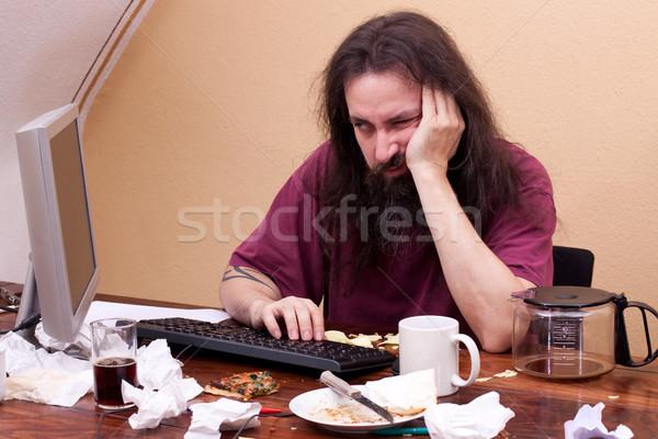 Man vergadering pc denken business Stockfoto © Pasiphae