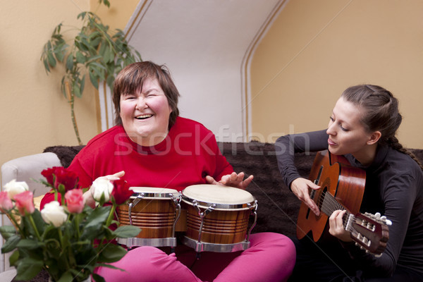 Two women make a music therapy Stock photo © Pasiphae