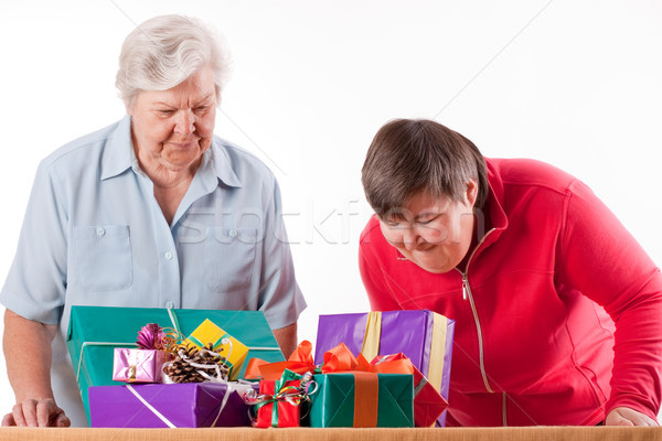 Senior with mentally handicapped daughter consider gifts Stock photo © Pasiphae