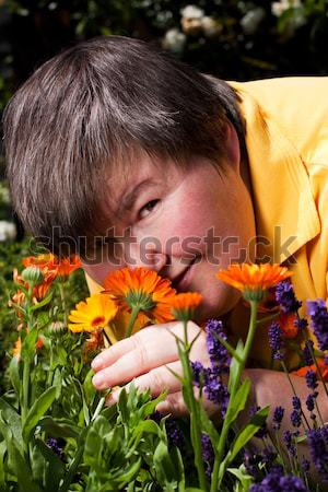 Elderly man in his garden smells of peppermint bushes Stock photo © Pasiphae