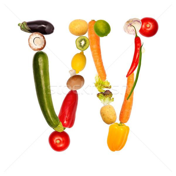 Letra w frutas legumes fonte Foto stock © Pasiphae