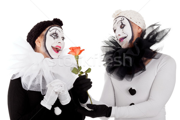 couple of clowns in love with a flower Stock photo © Pasiphae