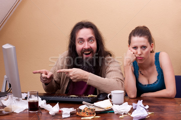 Nerd is enthusiastic to monitor wife is bored Stock photo © Pasiphae