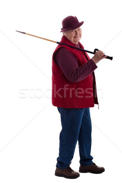 Ativo senior mulher caminhada vara feminino Foto stock © Pasiphae