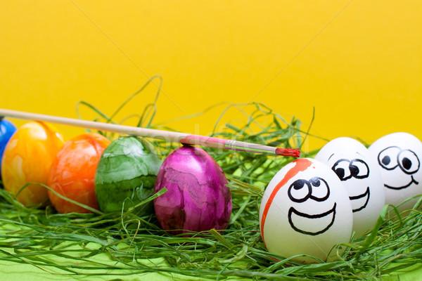 Engraçado amarelo páscoa ovos primavera sorrir Foto stock © Pasiphae