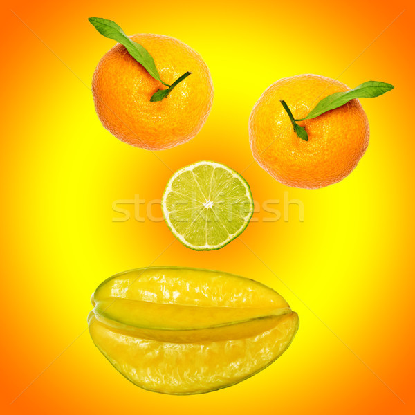 a smiley of fresh fruits Stock photo © Pasiphae