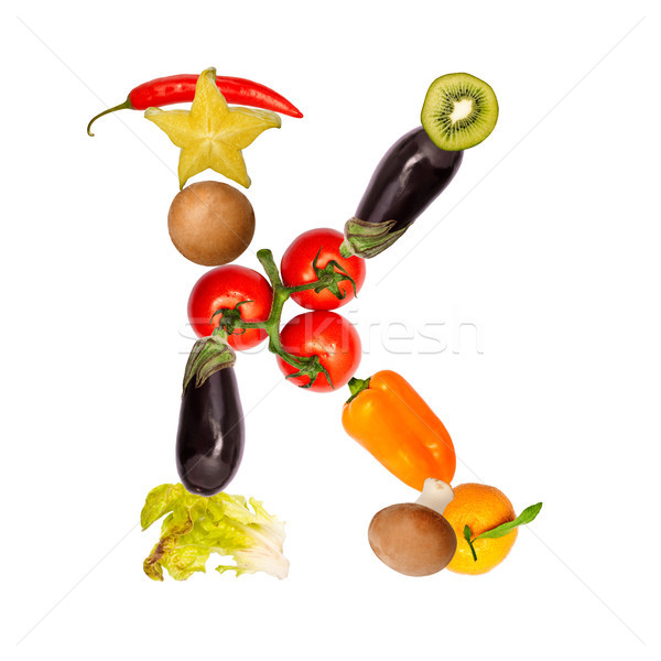 The letter k in various fruits and vegetables Stock photo © Pasiphae