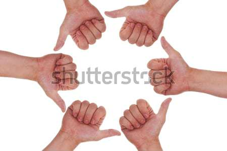 a lot of hands with thumbs up making a circle Stock photo © Pasiphae