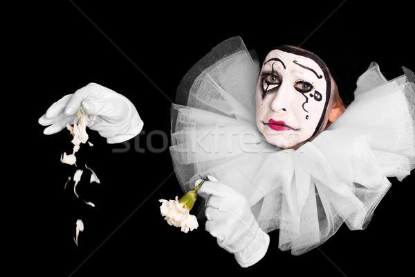 女性 ピエロ 失恋 花 背景 悲しい ストックフォト © Pasiphae