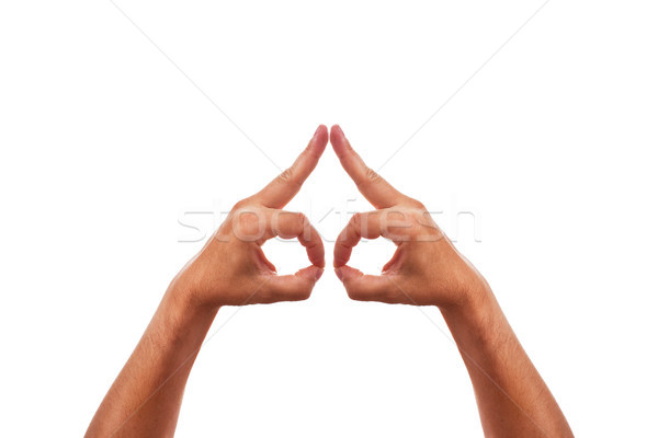 Two caucasion hands are building a symbol Stock photo © Pasiphae