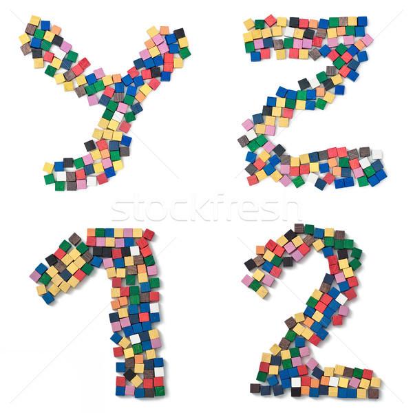 Gyerekek teljes betűtípus ábécé számok fakockák Stock fotó © Pasiphae