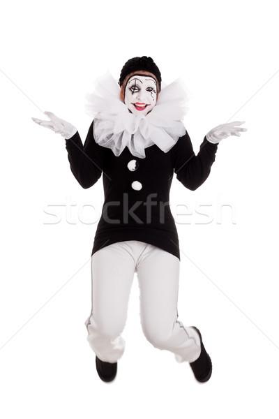 Funny kobiet clown skoki odizolowany kobieta Zdjęcia stock © Pasiphae