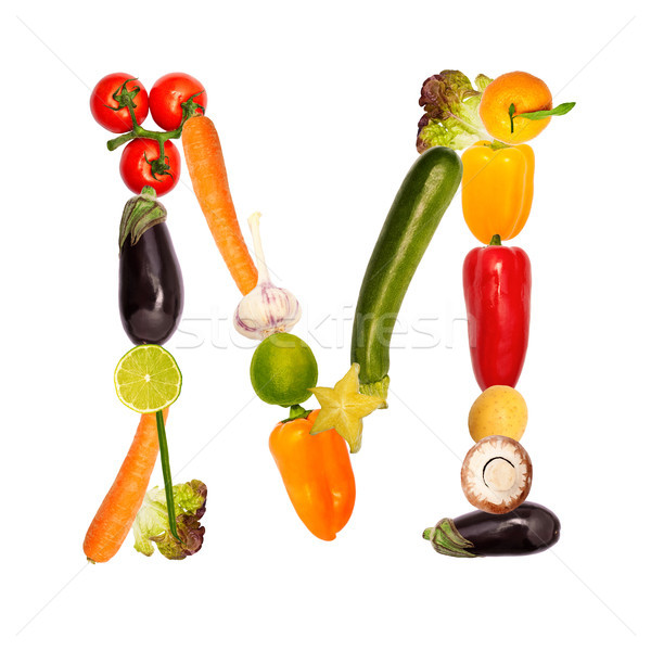 The letter m in various fruits and vegetables Stock photo © Pasiphae