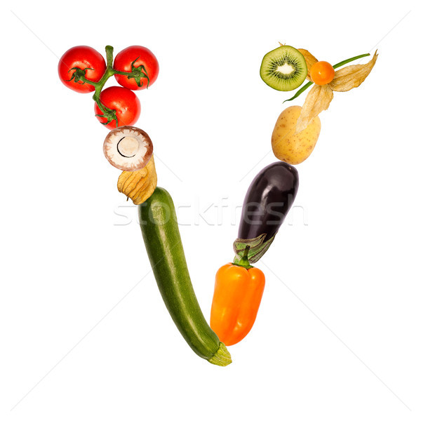 The letter v in various fruits and vegetables Stock photo © Pasiphae