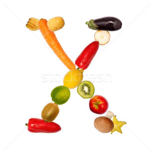 письме различный плодов овощей полный шрифт Сток-фото © Pasiphae