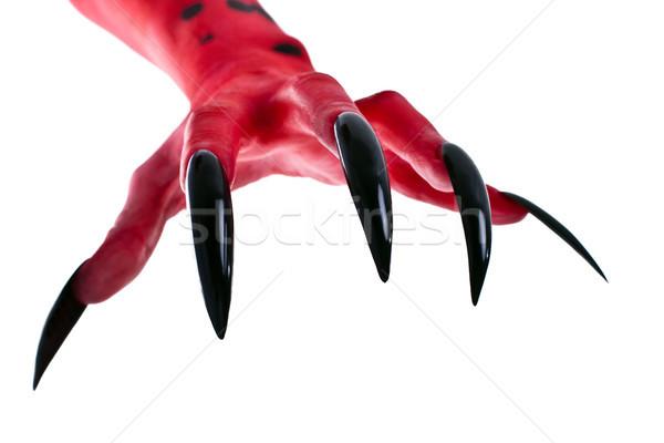 Rouge main diable noir clous peur Photo stock © Pasiphae