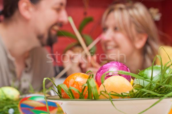 человека женщину Живопись другой пасхальных яиц Сток-фото © Pasiphae