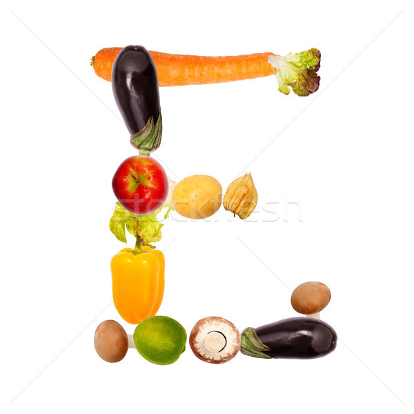 The letter e in various fruits and vegetables Stock photo © Pasiphae