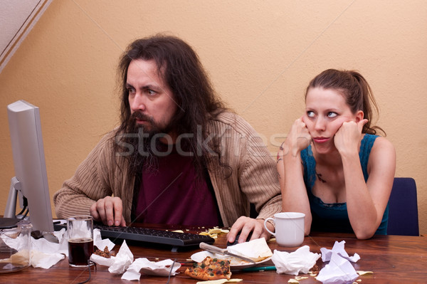 Beautiful woman gets no attention from Nerd Stock photo © Pasiphae
