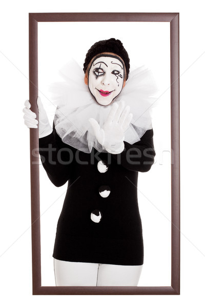 смешные клоуна кадр из стороны женщины Сток-фото © Pasiphae