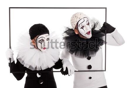 Para śmiechem powyżej granicy kobieta urodziny Zdjęcia stock © Pasiphae