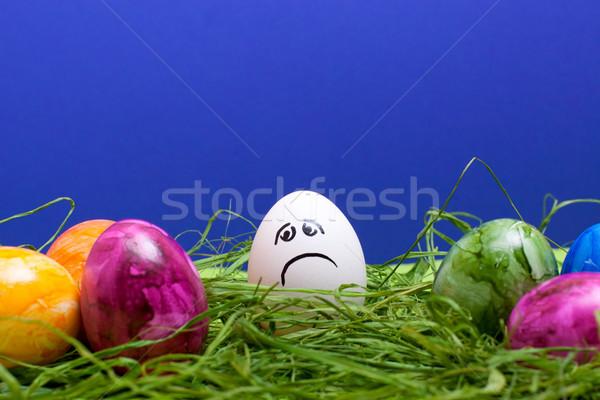 Pasqua triste uovo blu erba uova Foto d'archivio © Pasiphae