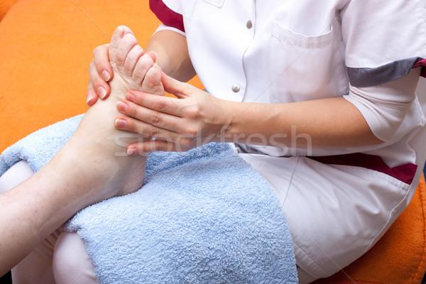 Nővér csemegék láb női család kéz Stock fotó © Pasiphae
