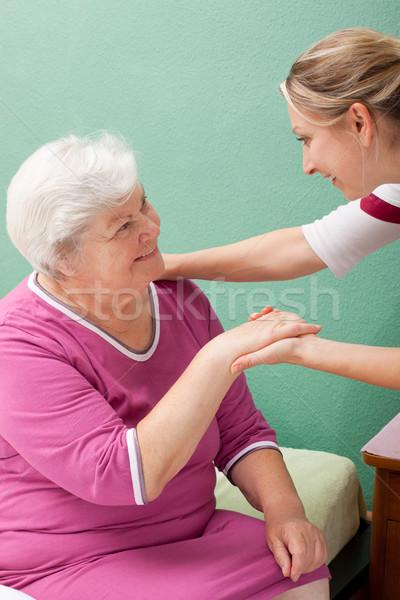 ブロンド 看護 訪問 高齢者 女性 ストックフォト © Pasiphae