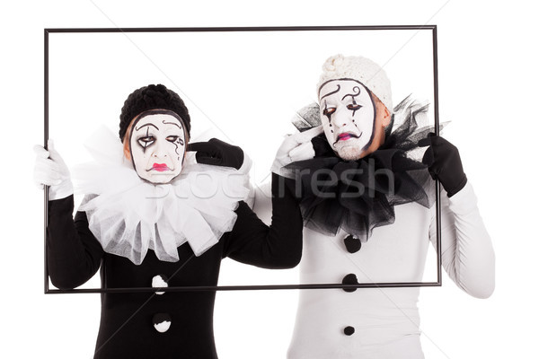 two clowns in a frame cant hear each other Stock photo © Pasiphae