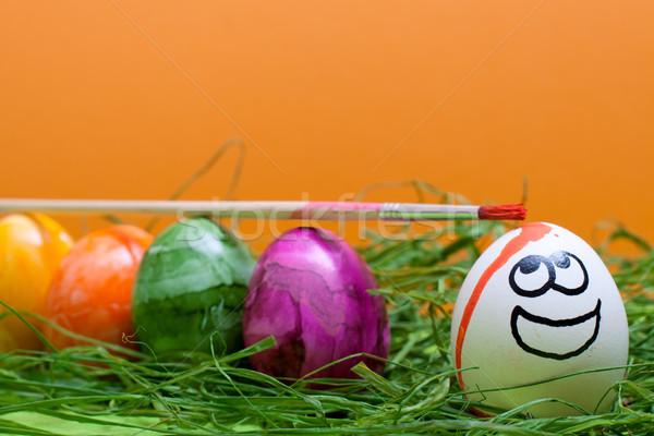 Laranja páscoa engraçado ovo sorridente primavera Foto stock © Pasiphae