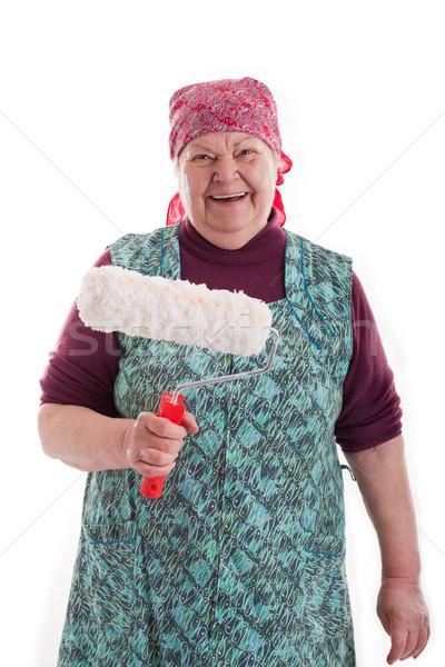 Supérieurs peinture vieille femme heureux nature jardin Photo stock © Pasiphae