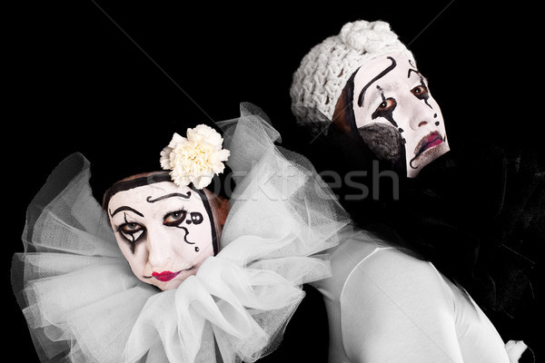 two angry clowns with black background Stock photo © Pasiphae