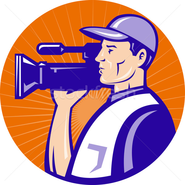 Film crew video filmcamera illustratie Stockfoto © patrimonio