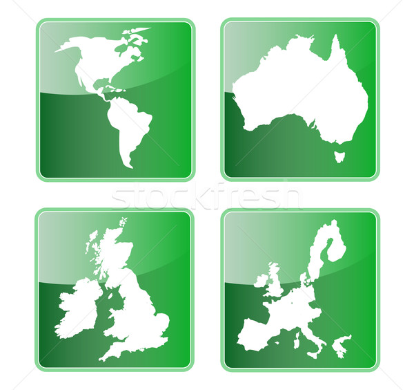 icon of americas australia great britain and european union map Stock photo © patrimonio