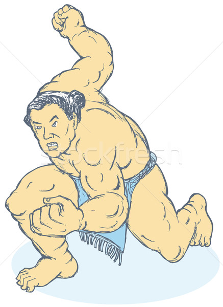 Japanese Sumo Wrestler Fighting Stance Stock photo © patrimonio